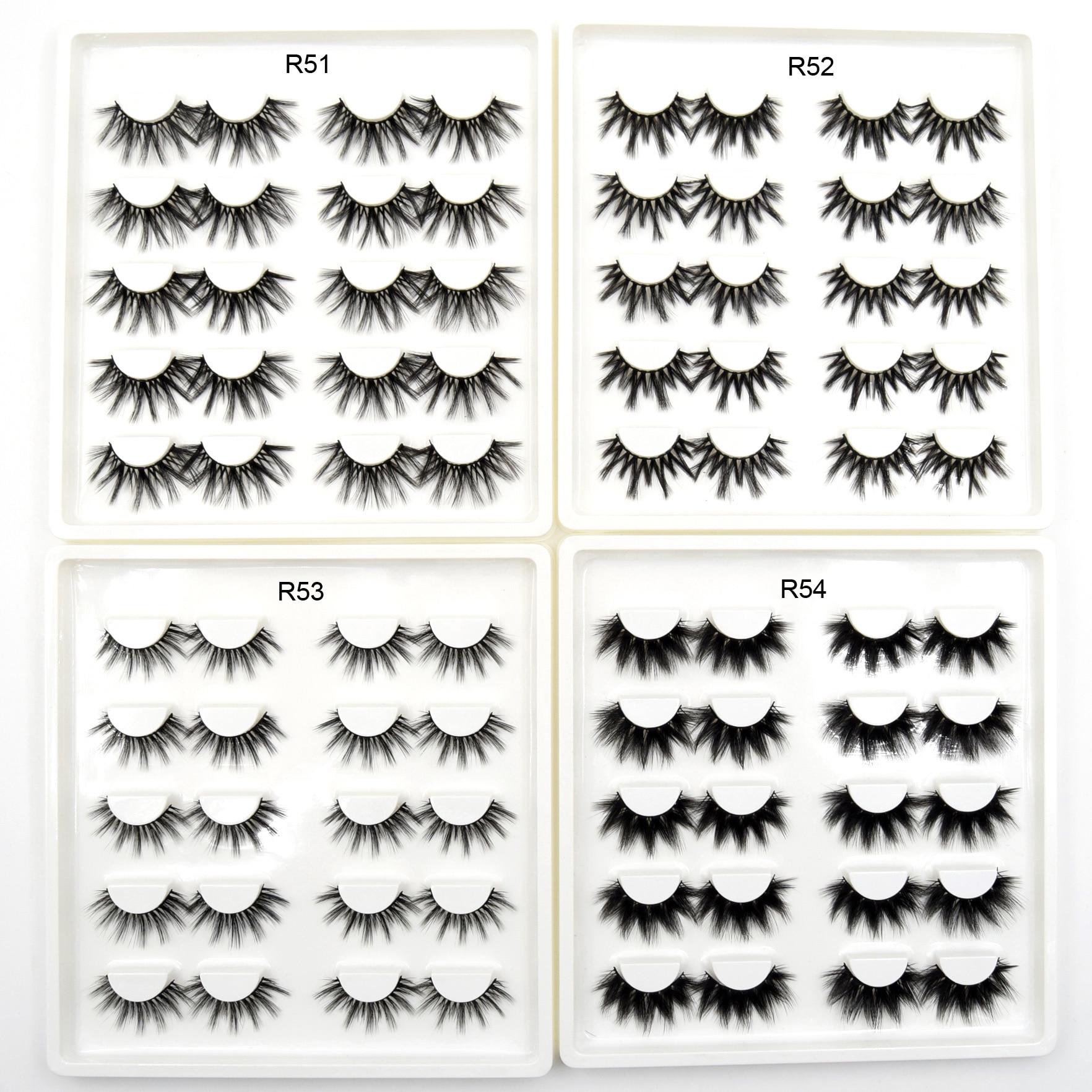 10 Pairs Faux Mink Eyelashes Handmade 3D False Eyelashes Full Strip Lashes Crisscross Thick Natural Long Eye Lashes Makeup Lash