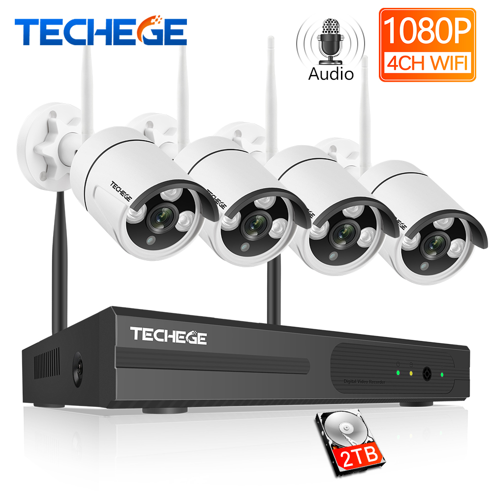 Techege 4CH H.265 Sistema de CCTV Sem Fio de Áudio Registro 2MP 4CH Kit NVR Kit de Vigilância de Vídeo De Detecção De Movimento Ao Ar Livre À Prova D' Água