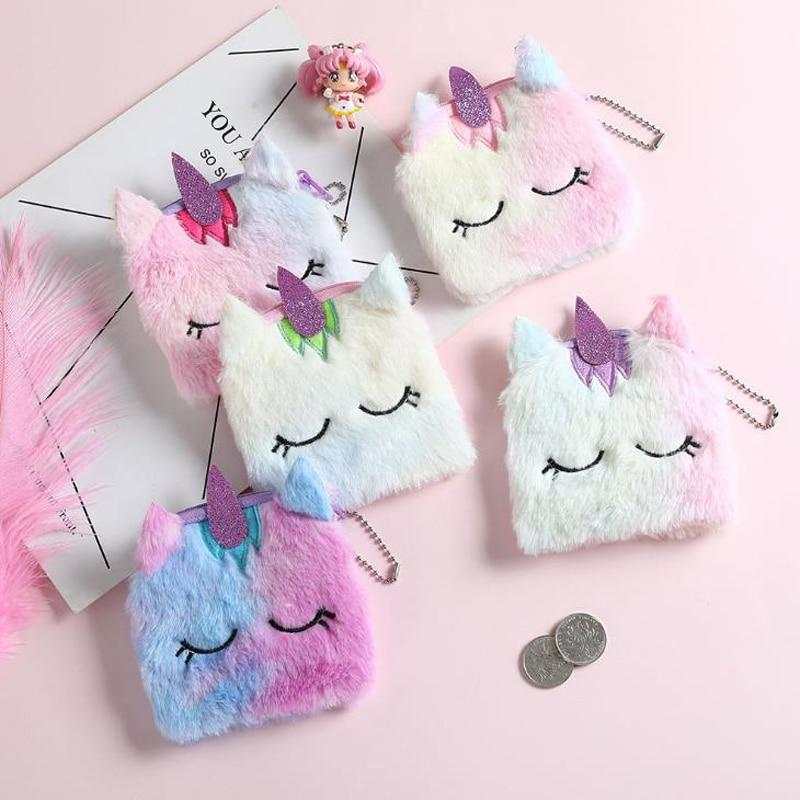 1 Pcs Rainbow Color Square Shape Unicorn Plush Coin Purse Earphone Bags Women Card Holder Kids Gift Headphone Pouch Wallet