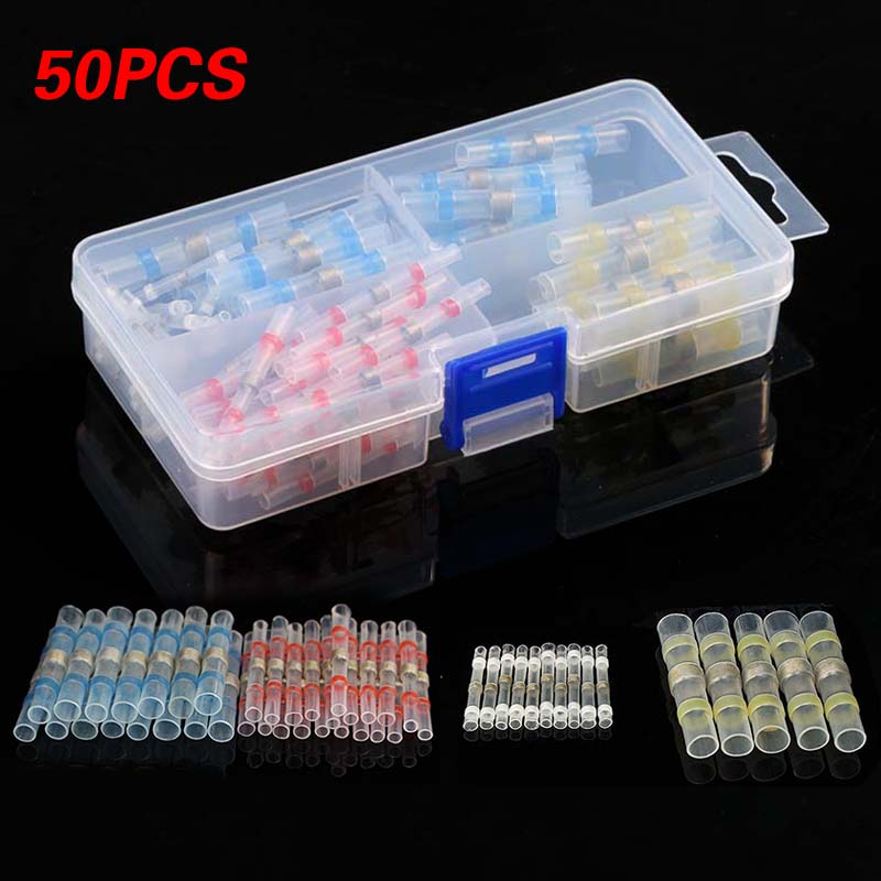 Waterproof Solder Seal Heat Shrink Butt Wire Connectors Terminals Electrical Soldering Sleeve 50PCS 4 Colors With Box Dropship