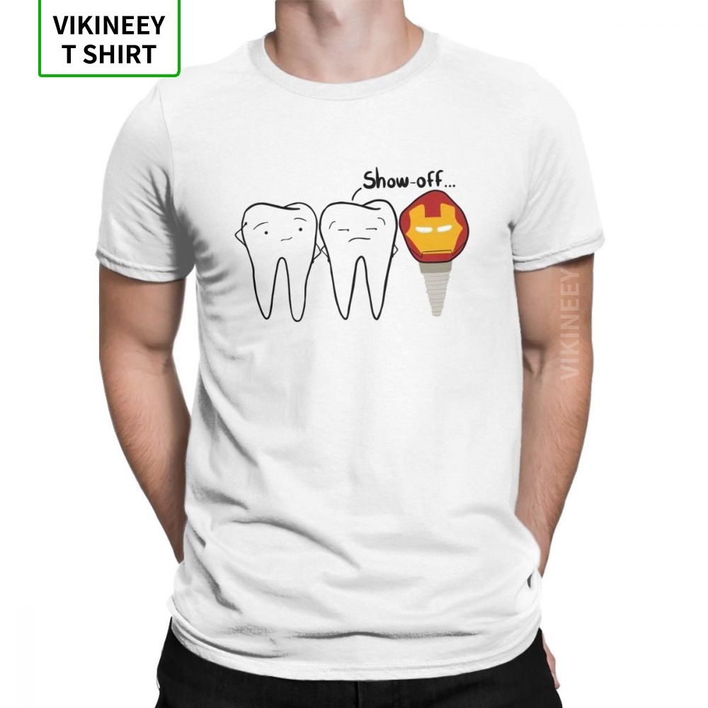 Men's Show-off Tooth T-Shirts Dental Implant Dentist Dentistry Tees Crew Neck Short Sleeve Tops 100% Cotton T Shirt Plus Size