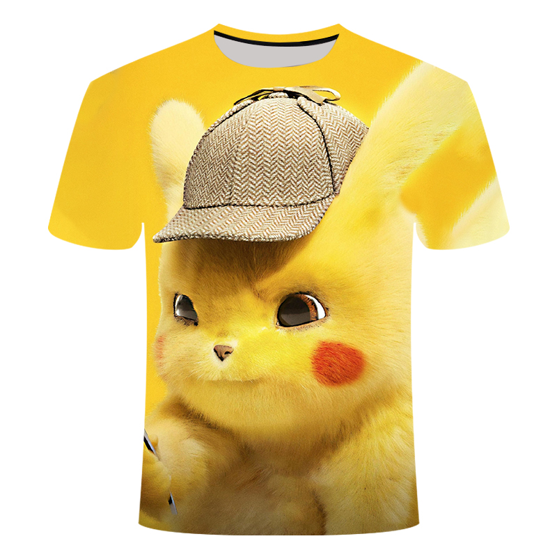 New 3D Movie <font><b>Detective</b></font> Pokemon <font><b>Pikachu</b></font> T-shirt For Boy/girl <font><b>Tshirts</b></font> Fashion Summer Casual Tees Anime Cute Cartoon Clothes 2019 image
