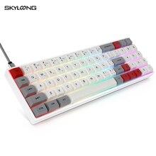 Skyloong Mini teclado mecánico portátil, inalámbrico, Bluetooth, Mx, RGB, retroiluminación, para juegos, 71 teclas, GK61, Gateron Switch