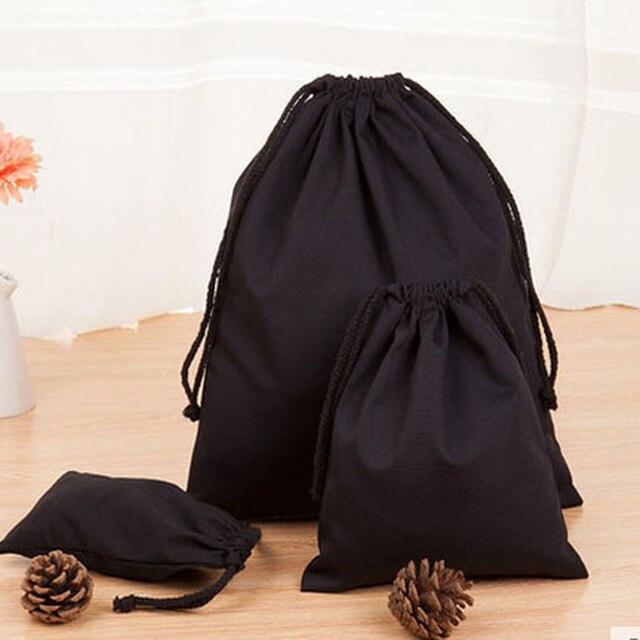 Bolsa de algodón negro para joyas, 8x10cm, 9x12cm, 10x15cm, 13x17cm, paquete de 50 bolsas de regalo para maquillaje, saco de caramelos de fiesta