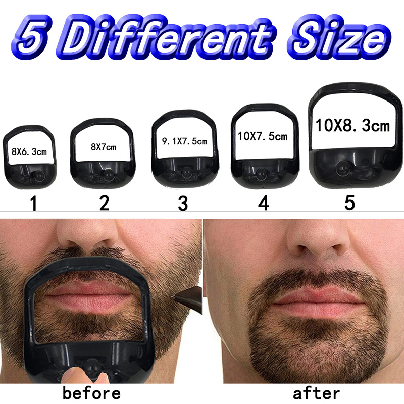 8 In 1 Beard Shaping &Styling Tool With Inbuilt Comb For Perfect Line Up &Edging Men's Facial Hair Style Stencil Beard Comb