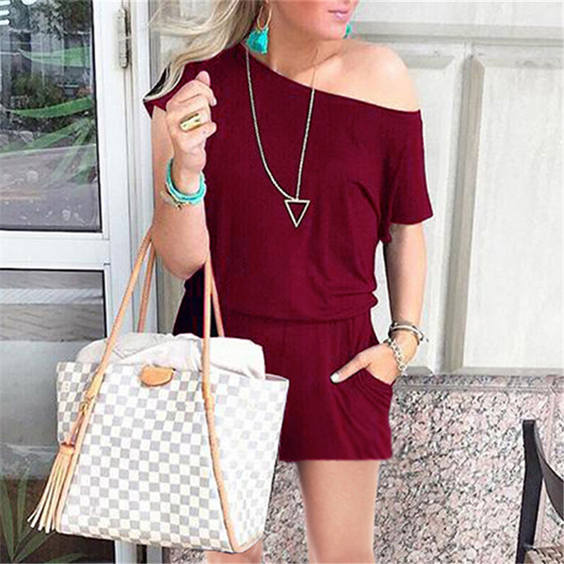 Summer Sexy Off Shoulder Short Sleeve Jumpsuits Solid Casual Slim Overalls For Women Romper Playsuits Clothes Female Mujer in Rompers from Women 39 s Clothing