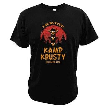 Kamp Krusty T Shirt The Clown TV Show Survivor EU Size High Quality Retro O-neck Tshirt - discount item  30% OFF Tops & Tees