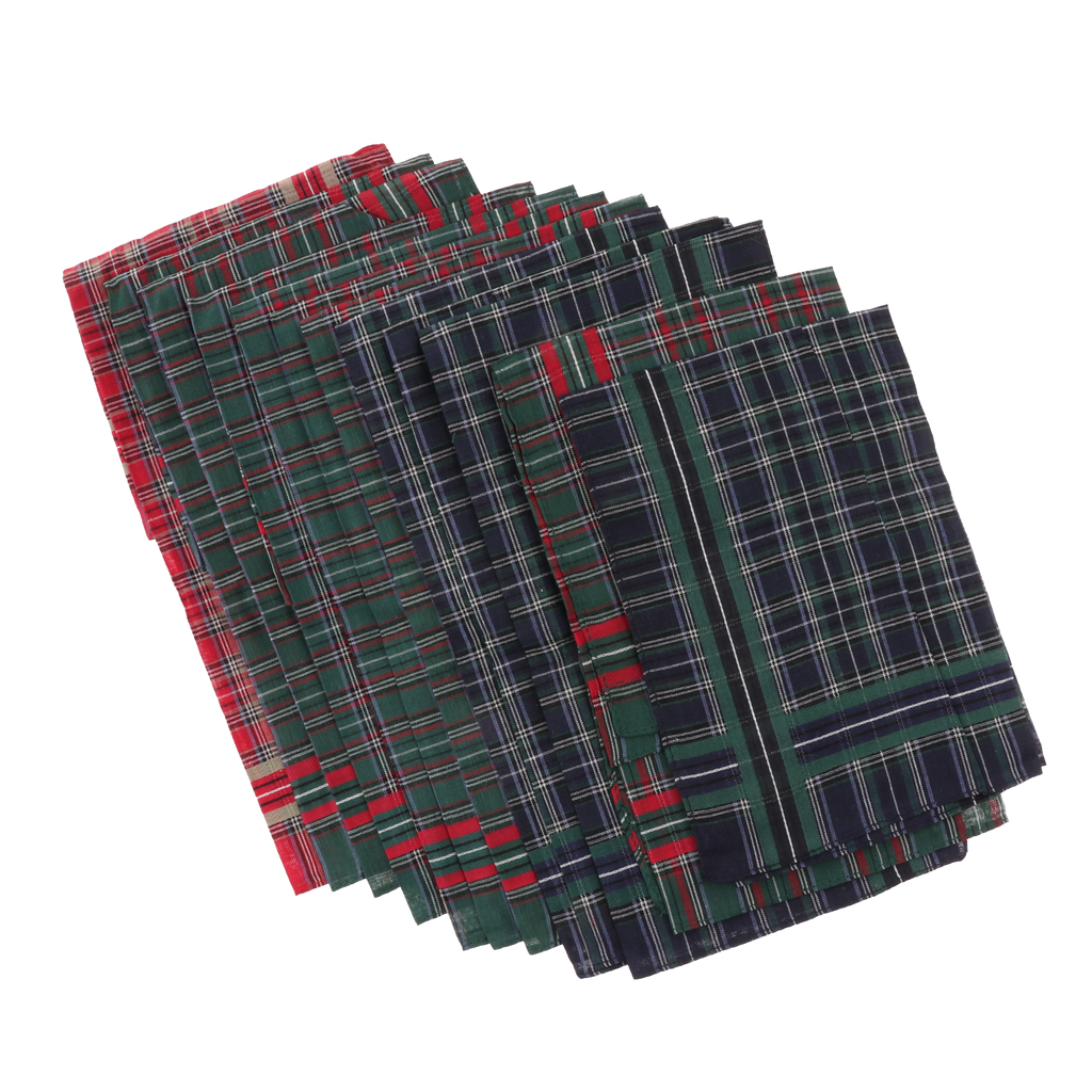 12 Pieces Mens Soft Cotton Handkerchiefs Wedding Party Pocket Square Hanky Gentlemen's Hankies 40x40 Cm