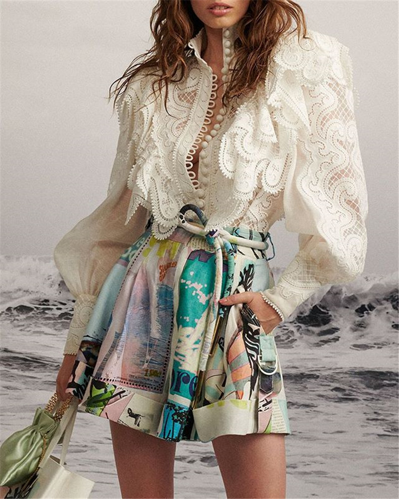 2019 Autumn New Arrive Floral Print Beach Style Holiday Women Shorts Holiday Clothing