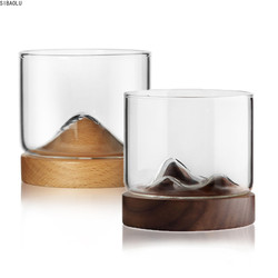 Mountain Whiskey Glass with Wooden Base Creative Beer Glass Wine Water Tea Cup Whiskey Glasses Set Bar Drinkware Accessories