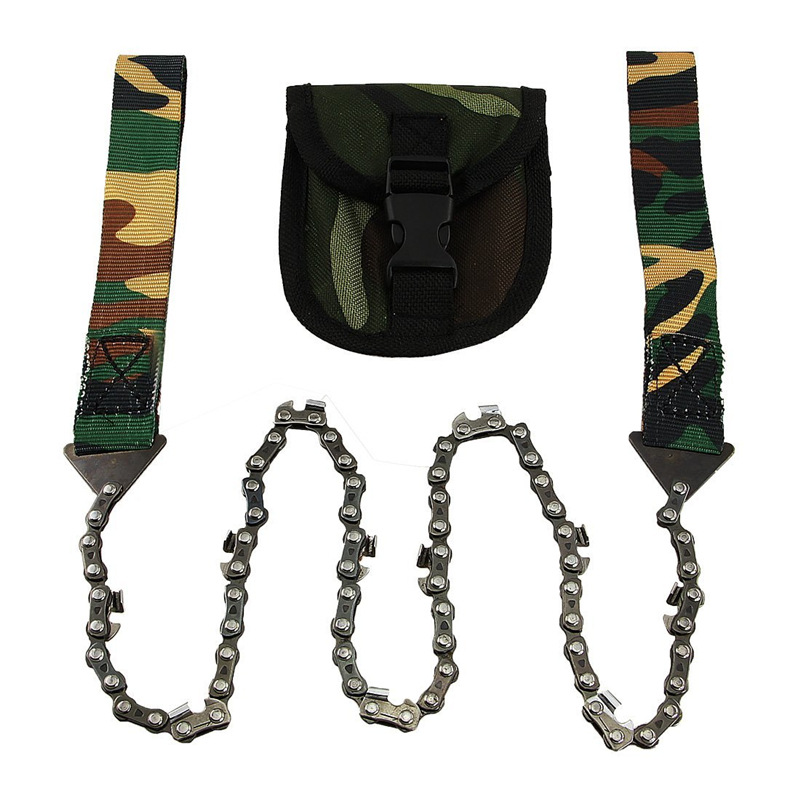 Folding Saw Field Survival 11 Tooth Camouflage Manganese Steel Wire Saw Cutter Hand Chain Outdoor Strong Manual Chain Saw