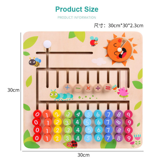 New Kid Wooden Slide Puzzle Digital Matching Maze Game Math Toy Cognitive Board Baby Educational Learning Toys for Children Gift