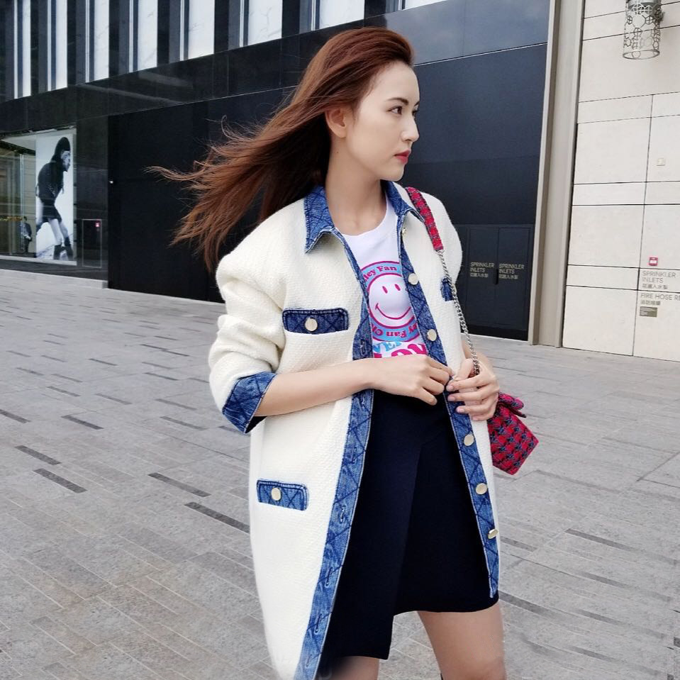 2020 New Tweed Denim Stitching Coat Women Single-breasted Spring Summer Simple Outwear Female Jacket Top