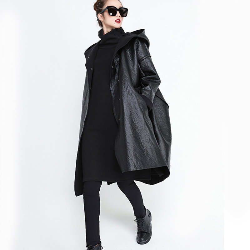 [EAM] Loose Fit Hooded Black Pu Leather Thick Oversize Jacket New Long Sleeve Women Coat Fashion Tide Autumn Winter 19 JG637 6