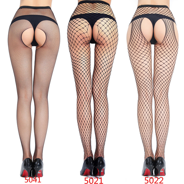 Woman Sexy Lingerie Pantyhose Erotic Stockings Jeans Hole Bottoming Mesh Open Crotch Fishnet Erotic Socks Intimate Goods for Sex 1