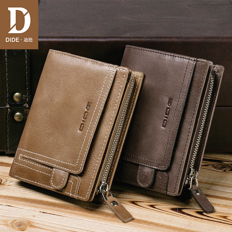 DIDE Mens Wallet Leather Genuine With Coin Pocket Vintage Male Wallets Small Zipper Purse Short Wallet Credit Card Holder Gift