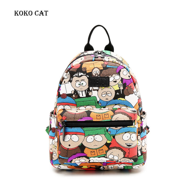 Funny Cartoon Printing Mini Backpacks Women Canvas Backpack School Bags For Teenage Girls Bookbag Casual Dailypack Bag Mochila