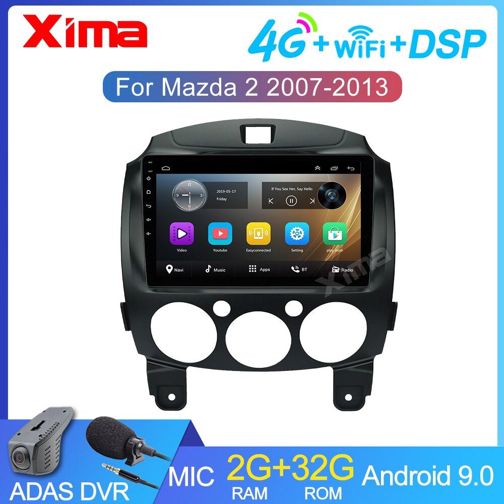 9 polegada 2 carro do jogador de vídeo dos multimédios do carro do ruído dvd android 9.0 para mazda 2 2007-2014 rádio do carro 2din gps navegação rádio estéreo