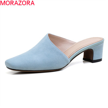 MORAZORA 2020 New Brand fashion women mules shoes genuine leather simple ladies shoes solid color summer casual mules shoes фото