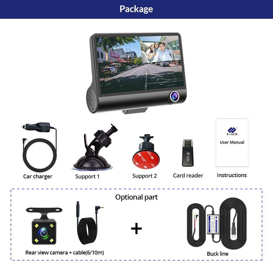 E-ACE Car DVR 3 Cameras Lens 4.0 Inch Dash Camera Dual Lens suppor Rearview Camera Video Recorder Auto Registrator Dvrs Dash Cam 6