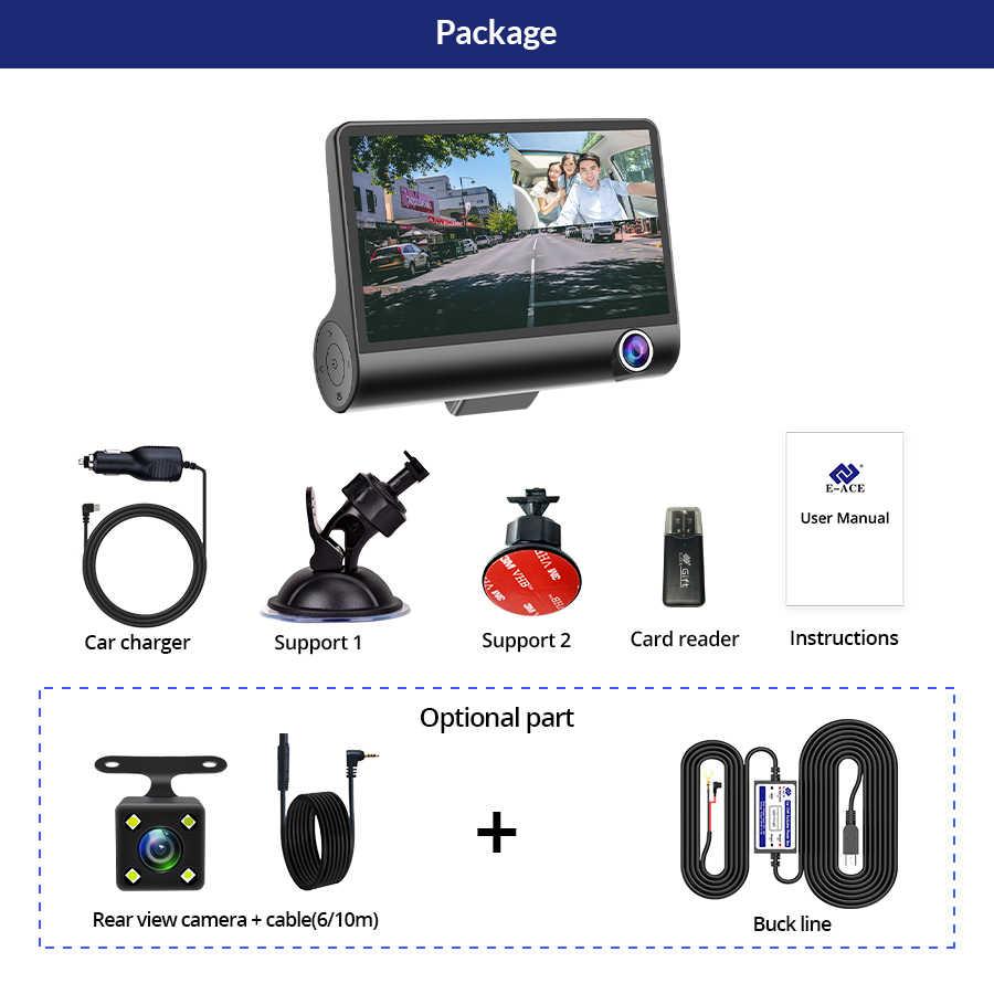 E-ACE Auto Dvr 3 Camera Lens 4.0 Inch Dash Camera Dual Lens Suppor Achteruitrijcamera Video Recorder Auto Registrator Dvr dash Cam