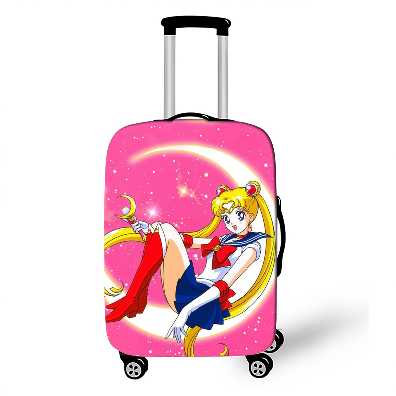 Set of 2 PU Leather Luggage Tags One of The Face is Sailor Moon Suitcase Labels Bag Adjustable Leather Strap Travel Accessories