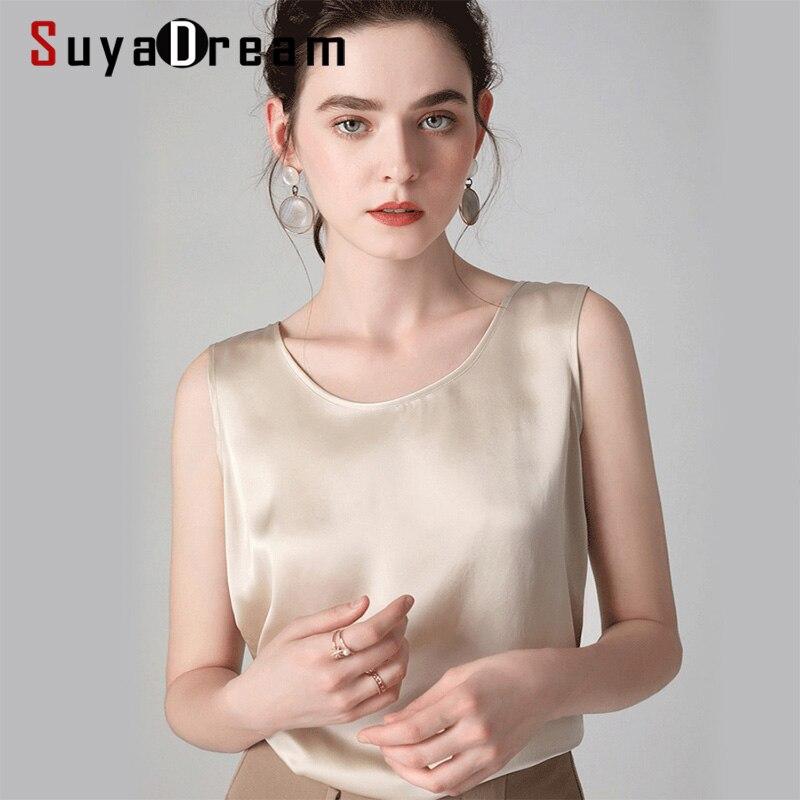 Suyadream feminino tanques de seda 100% real seda cetim o pescoço sem mangas camisa 2020 sólido verão coletes