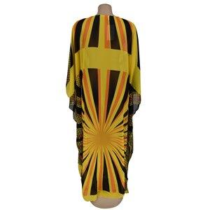 Image 3 - Voan Màu Vàng Châu Phi Váy Đầm Cho Nữ Châu Phi Quần Áo Hồi Giáo Dài Đầm Chất Lượng Cao Chiều Dài Thời Trang Châu Phi Đầm Cho Nữ