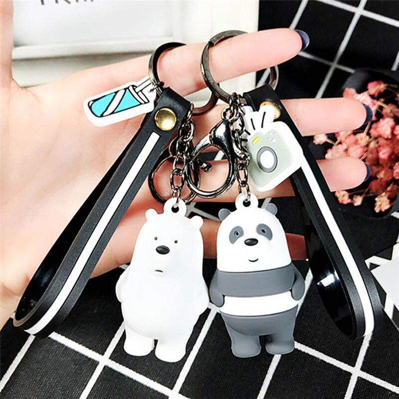 Cartoon Anime Cute Three Animal Bears Doll Keychains Women Car Bag Pendant Belt Trinkets Key Chains Party Gift Supplies