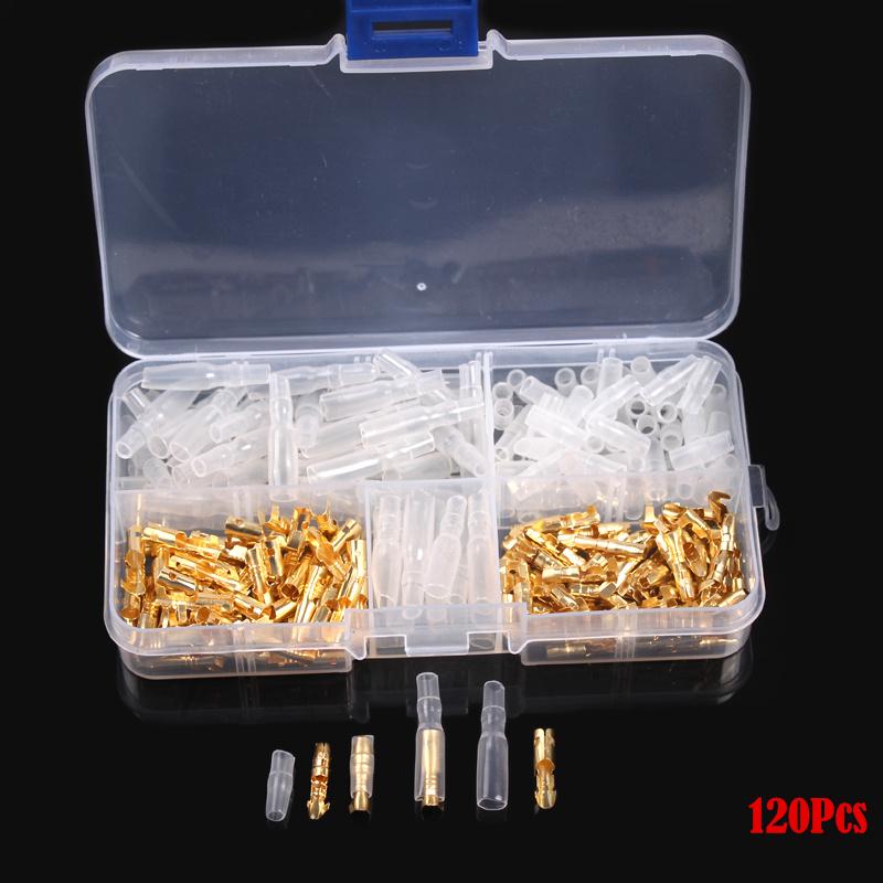 120pc Durable 3.5mm Brass Bullet Connectors Male & Female Terminals Set With Insulated Cover Kit For Car Motorcycle