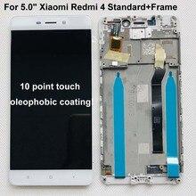 هاتف شاومي ريدمي 4 أصلي جديد 100% بذاكرة وصول عشوائي 2 جيجابايت وذاكرة قراءة فقط 16 جيجابايت وشاشة عرض LCD + محول رقمي لشاشة لمس لريدمي 4 بإطار