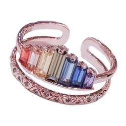Korona pierścień tęczy dla kobiet regulowane kryształowe pierścionki urodziny elegancka biżuteria U2JF