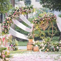 White gold U/heart /round ring shape Metal Iron Arch Wedding Backdrop stand party Decor artificial Flower balloon Stand shelf