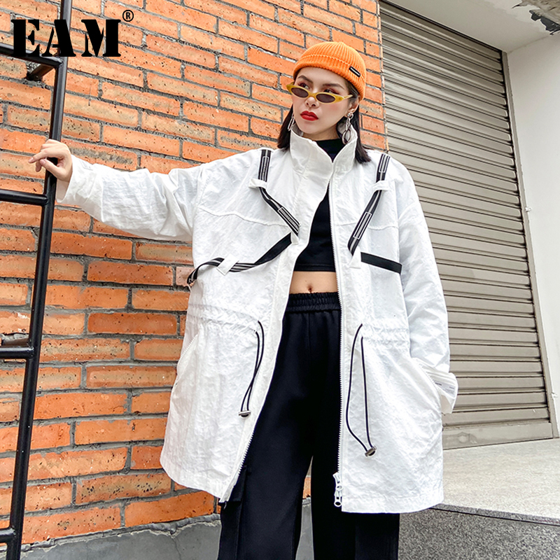 [EAM] Women White Pattern Print Big Size Trench New Stand Collar Long Sleeve Loose Fit Windbreaker Fashion Spring 2020 1R477