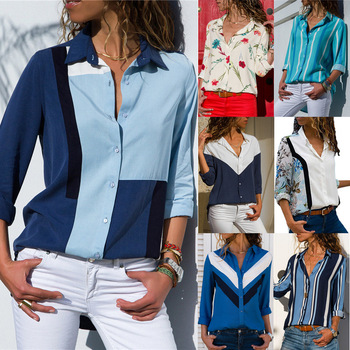 women shirts blouse women plus size chiffon blouse flower/strip printed loose long sleeve 2019 summer new full shirt chemisier f 2