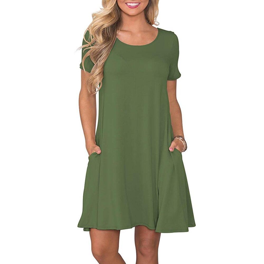 Women's Summer Casual T Shirt Dresses Short Sleeve Swing Dress Pockets 5