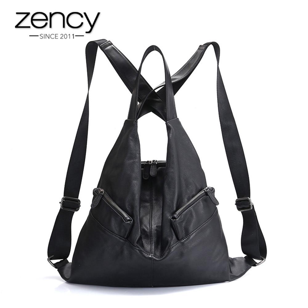 Zency ที่ไม่ซ้ำกันสไตล์ผู้หญิงกระเป๋าเป้สะพายหลัง 100% Cowhide ของแท้หนังแฟชั่นกระเป๋าเดินทางสีดำ Lady กระเป๋าเป้สะพายหลังผู้หญิงกระเป๋านักเรียนโน้ตบุ๊ค-ใน กระเป๋าเป้ จาก สัมภาระและกระเป๋า บน AliExpress - 11.11_สิบเอ็ด สิบเอ็ดวันคนโสด 1