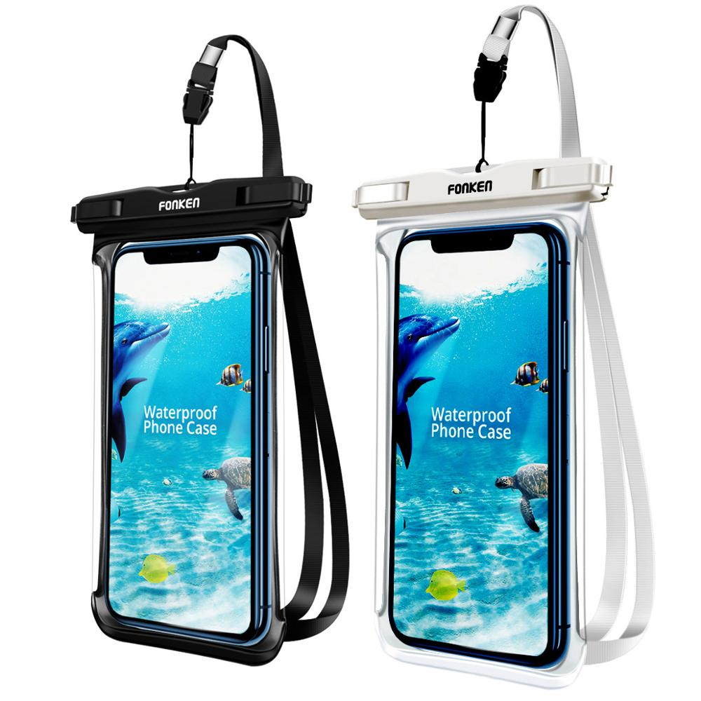 FONKEN Full View Waterproof Case For Phone Underwater Snow Rainforest Transparent Dry Bag Swimming Pouch Big Mobile Phone Covers