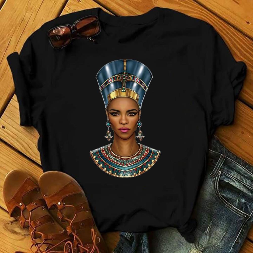Black Queen Harajuku Female Short Sleeve Clothes Summer Beautiful African Melanin Black Girl Print Women T shirt,Drop Ship