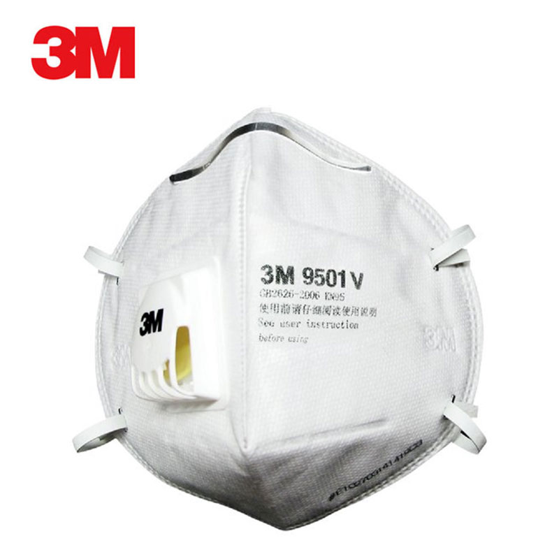 3M Mask 9501V Respirator Face Masks Anti Haze PM2.5 Active Carbon Filter Head Mounted Cool Flow Valve Breathable Safety Mask