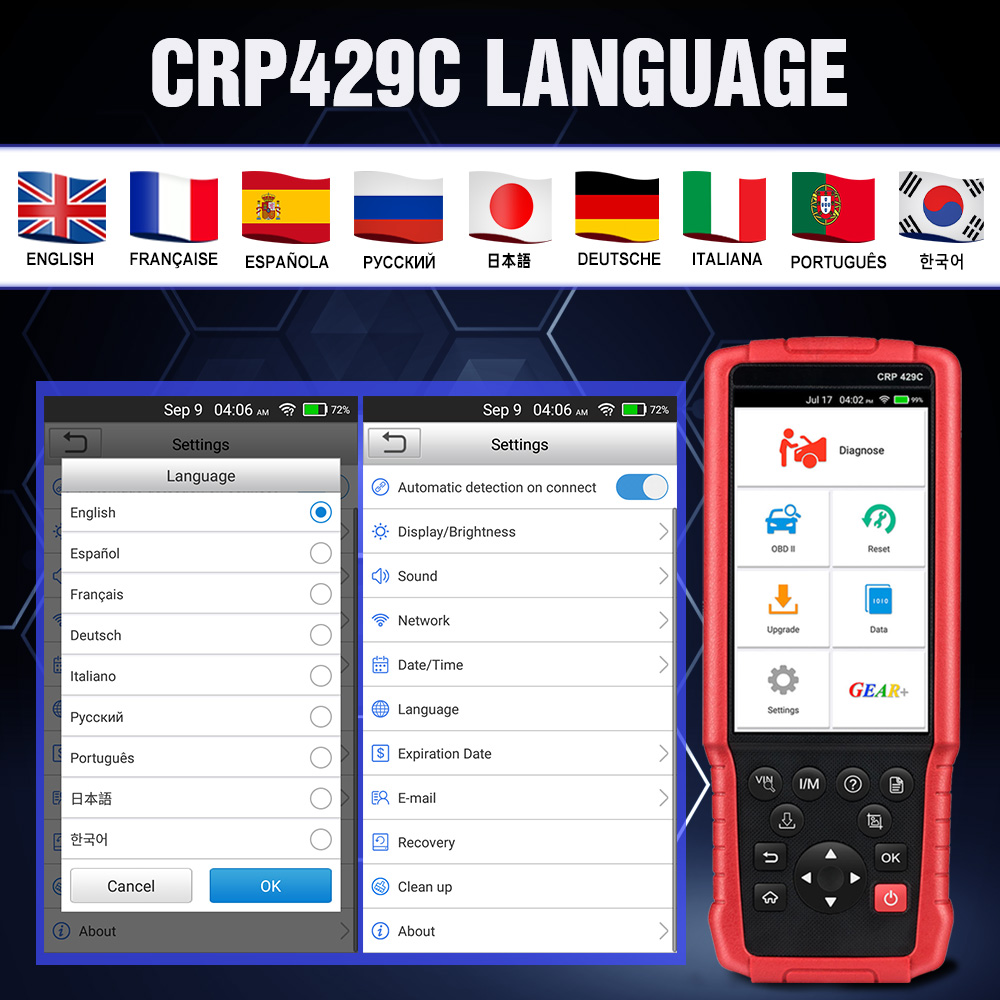 Launch CRP429C ENGABS/SRS/Transmision OBD/OBDII Code Reader 11 Special Service X431 Diagnostic Tool Auto Scanner