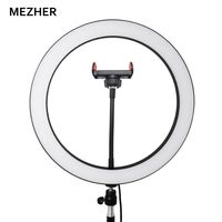 12 inch 30 cm USB interface adjustable LED self timer ring light camera, mobile phone makeup lamp and tripod telephone clip