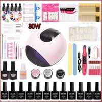 45w/80w Manicure Set Uv Led Lamp Choose 12 Colors Gel Polish Base Top Coat Nail Kits Electric Manicure Handle Nail Art Tool