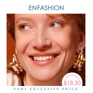 Image 1 - ENFASHION Punk Pearl Double C Hoop Earrings For Women Gold Color Big Statement Earings Fashion Jewelry Pendientes Aro EC191042