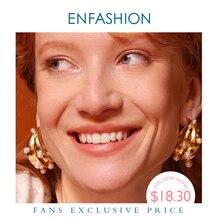 ENFASHION Punk Pearl podwójne C Hoop kolczyki dla kobiet złoty kolor duże oświadczenie kolczyki biżuteria Pendientes Aro EC191042