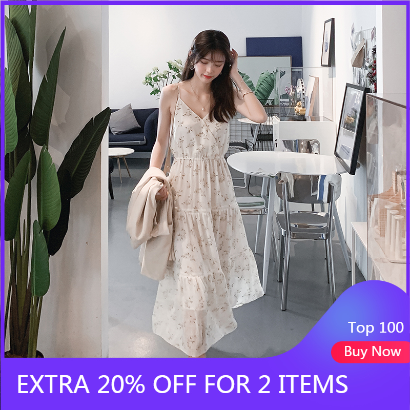 Mishow 2019 Women New Fashion Strapped Sweet Dresses V-Neck Sleeveless Floral Printing Sling Dress Summer Long Dress MX19B1191