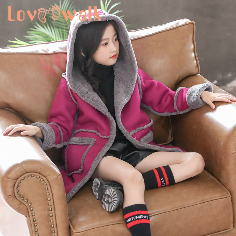 Kids Girl Overcoat Winter New Fashion Wool Coat For Girls Teens Autumn Jacket Warm Long Outerwear Children Windproof Hoode Cloth