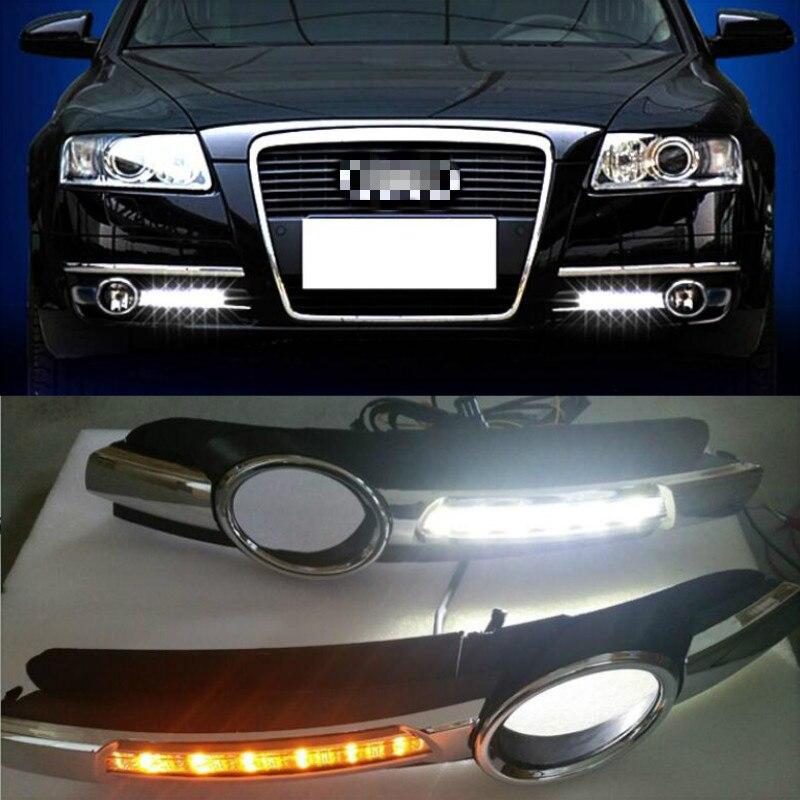 2 предмета в комплекте, для AUDI A6 C6 2005 2006 2007 2008 светодиодный DRL Габаритные огни 12В АБС-пластик отверстием для противотуманной лампы с желтым си...