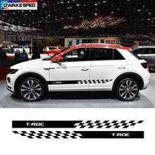 Racing Sport Stripes Car Door Side Skirt Sticker For Volkswagen VW T ROC R line Auto Body Decor Vinyl Decals