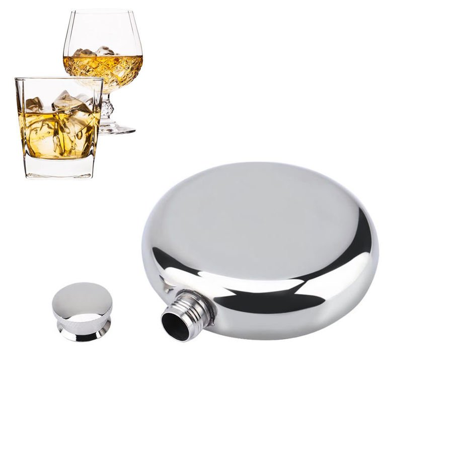 5oz/150mL Mini Stainless Steel Hip Flask Wine Whiskey Hip Flasks Round Alcohol Bottle Drinkware